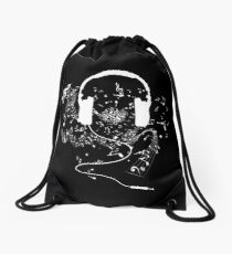Headphones and music notes white Drawstring Bag
