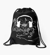 Headphones and music notes white Drawstring Bag