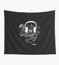 Headphones and music notes white Wall Tapestry