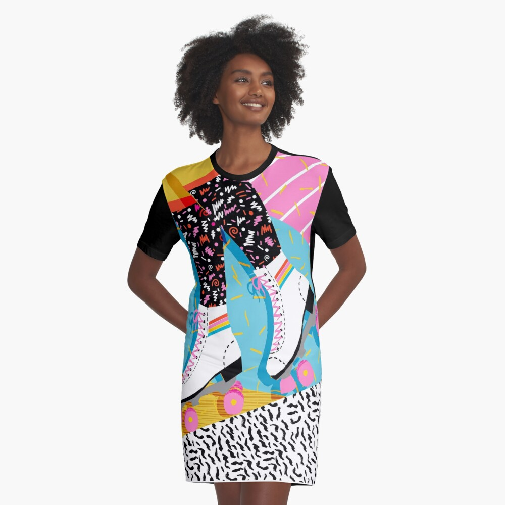 80s Rollerskating T-shirt Dress