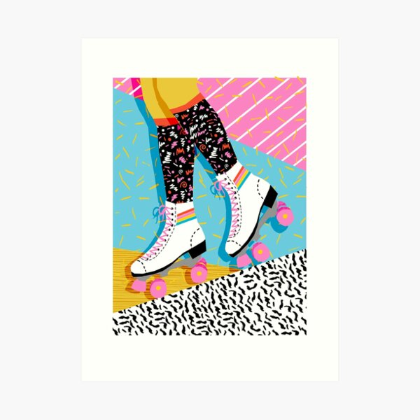 Steeze - 80s retro throwback rollerskating rink neon memphis 1980's vibes Art Print