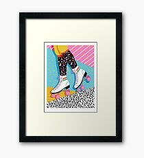 Steeze - 80s retro throwback rollerskating rink neon memphis 1980's vibes Framed Print