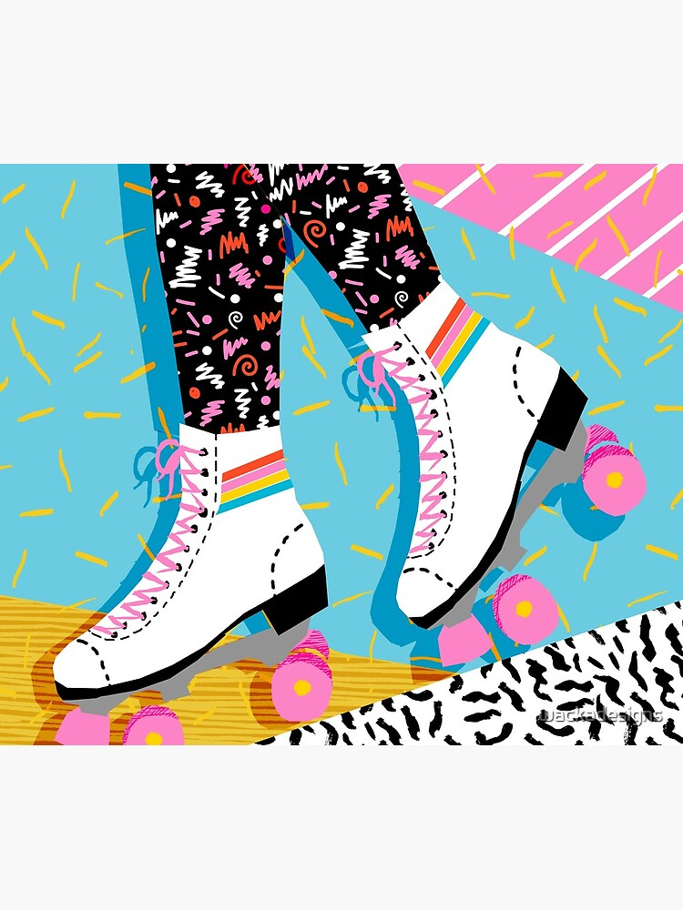 Steeze - 80s retro throwback rollerskating rink neon memphis 1980's vibes by wackadesigns