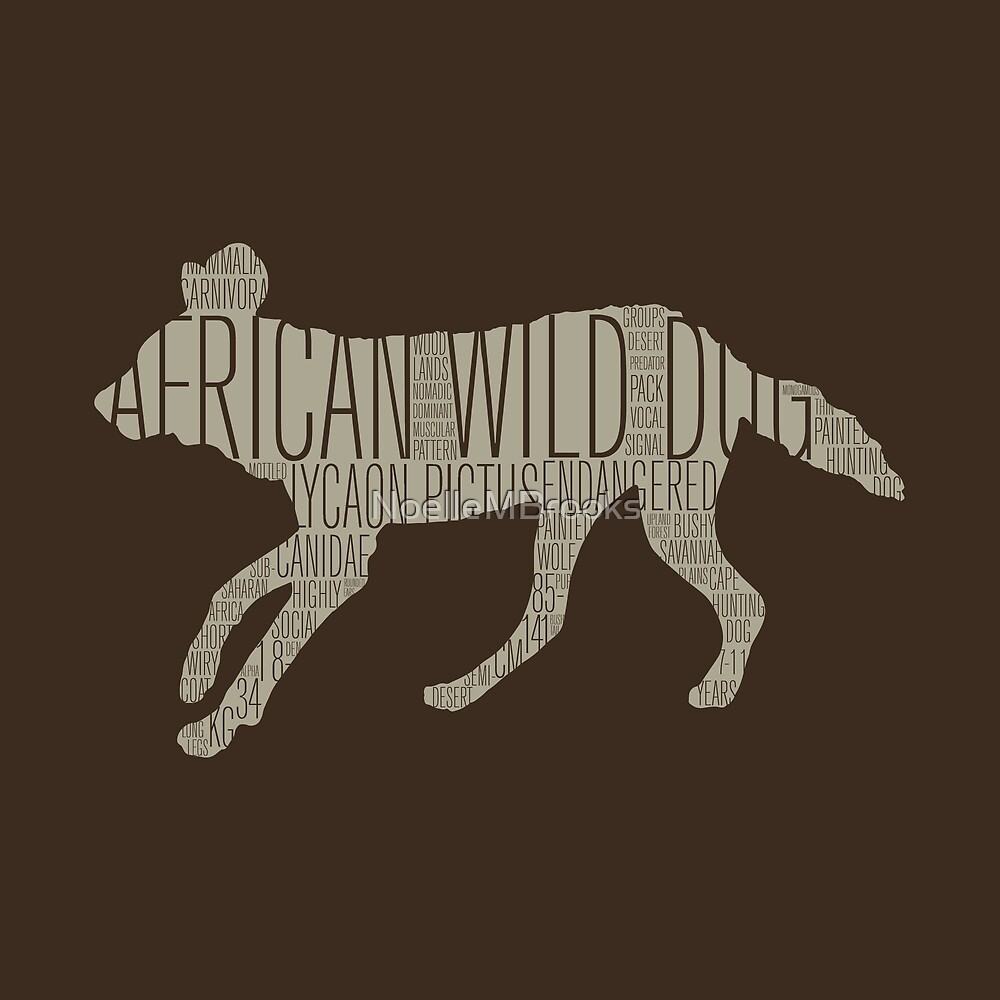 Word Cloud Wildlife: Pictus (African Wild Dog) by NoelleMBrooks