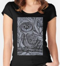 Lone Owl in the Night Women's Fitted Scoop T-Shirt