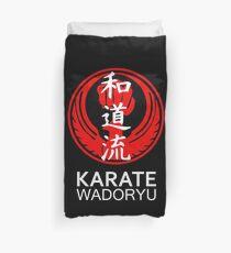 Wadoryu Karate Symbol and Kanji White Text Duvet Cover