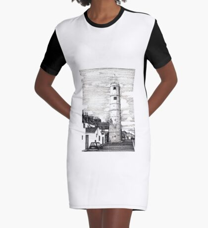 163 - BATH TERRACE LIGHTHOUSE, BLYTH (INK 1988) Graphic T-Shirt Dress