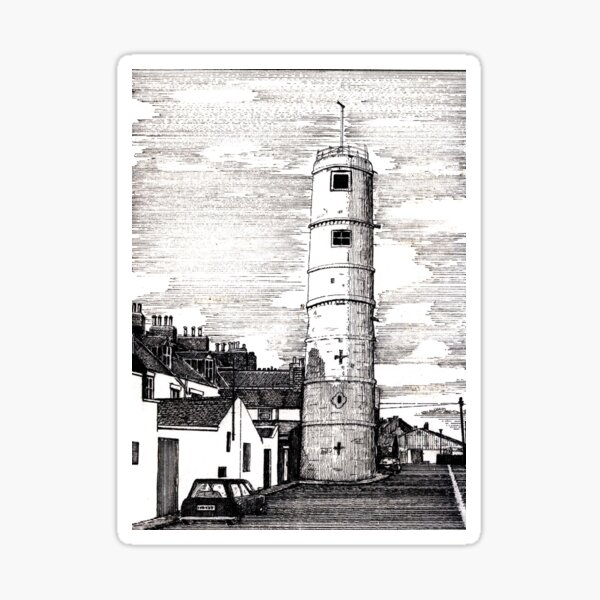 163 - BATH TERRACE LIGHTHOUSE, BLYTH (INK 1988) Sticker