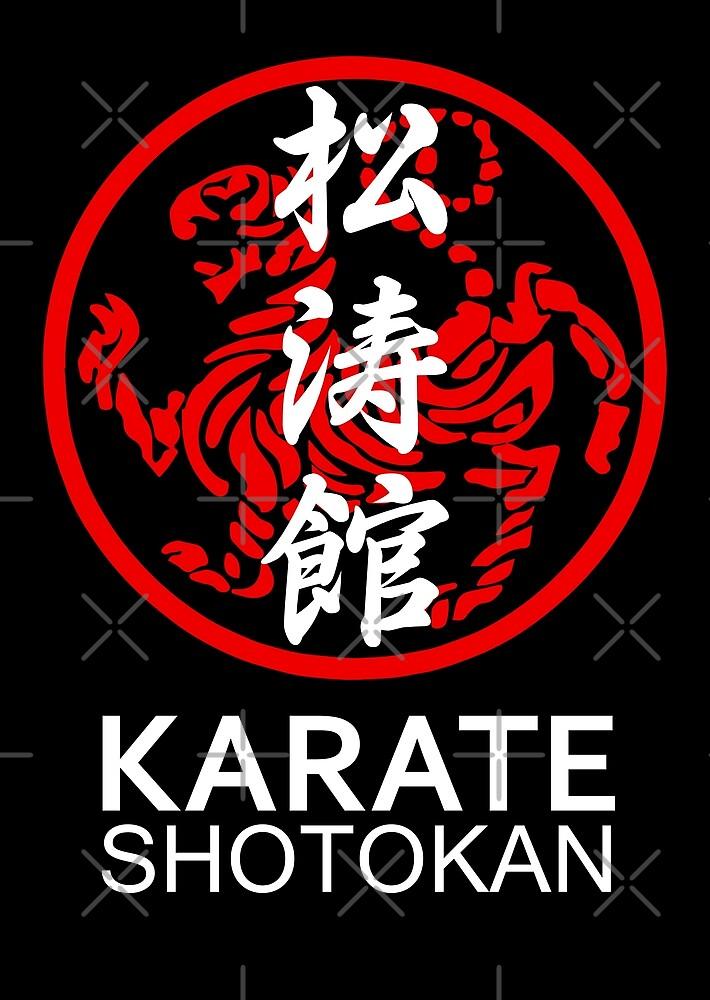 Shotokan Karate Symbol and Kanji White Text by DCornel