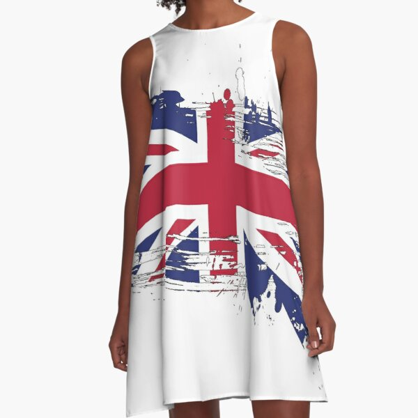 United Kingdom Flag Brush Splatter A-Line Dress
