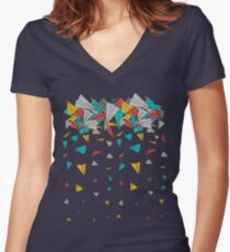 Flying paper planes  Women's Fitted V-Neck T-Shirt