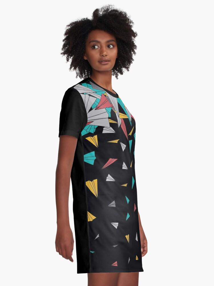 Alternate view of Flying paper planes  Graphic T-Shirt Dress