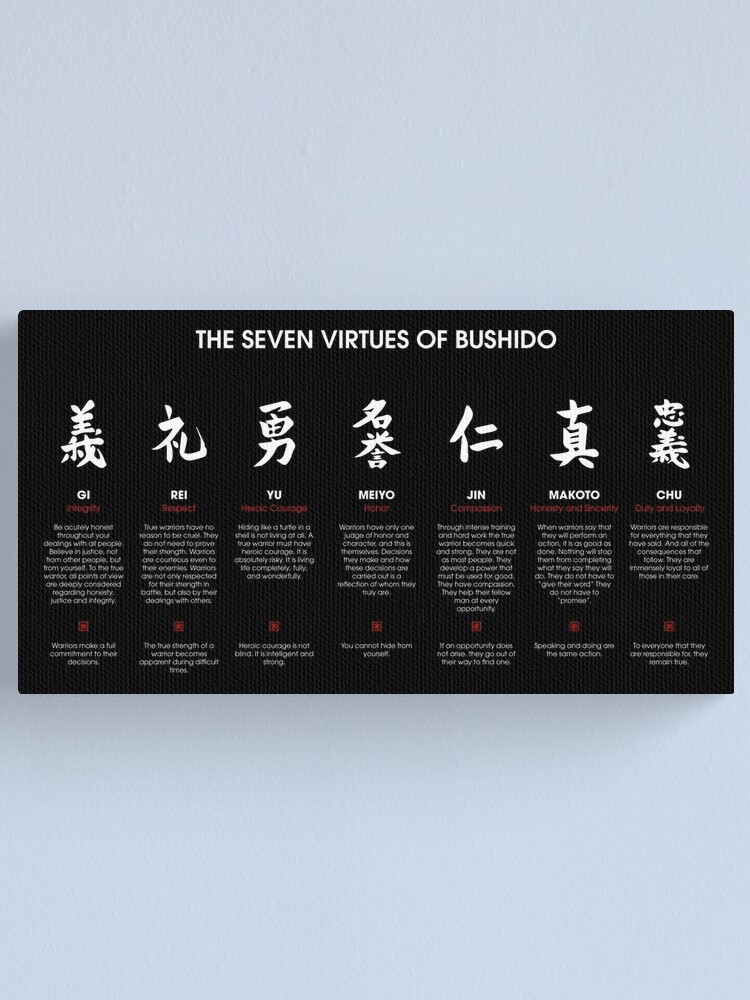 Alternate view of The 7 Virtues of Bushido (white text) Canvas Print