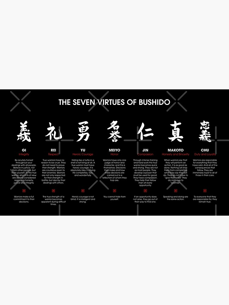 The 7 Virtues of Bushido (white text) by DCornel