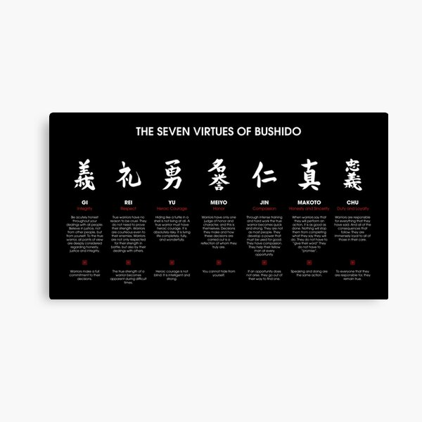 The 7 Virtues of Bushido (white text) Canvas Print