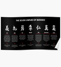 The 7 Virtues of Bushido (white text) Poster