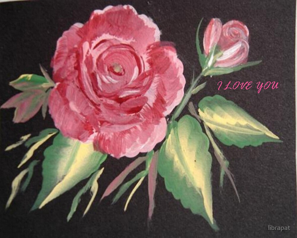 ROSE AND ROSEBUD ACRYLIC PAINTING ON BLACK by librapat