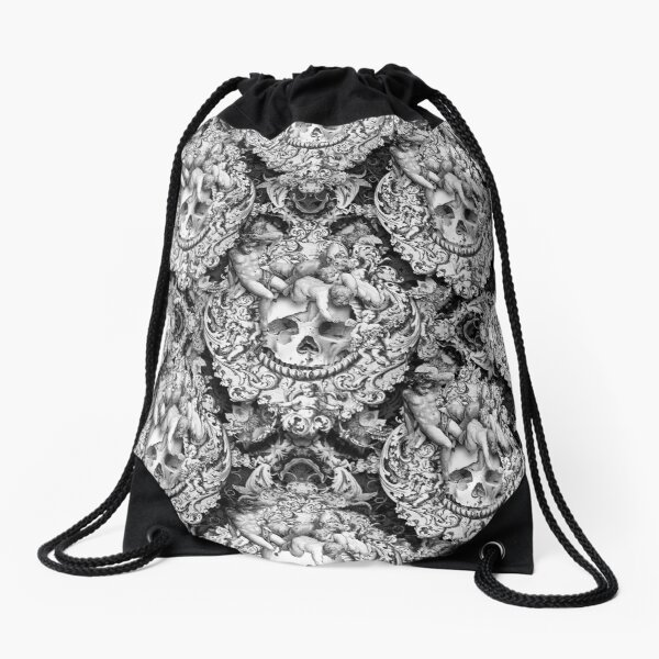Skull{ique} Black n White Drawstring Bag