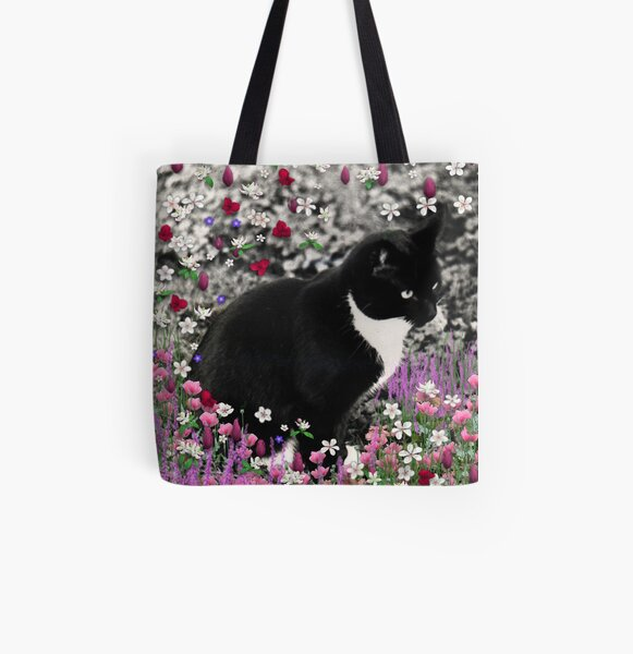 Freckles in Flowers II - Tuxedo Cat All Over Print Tote Bag