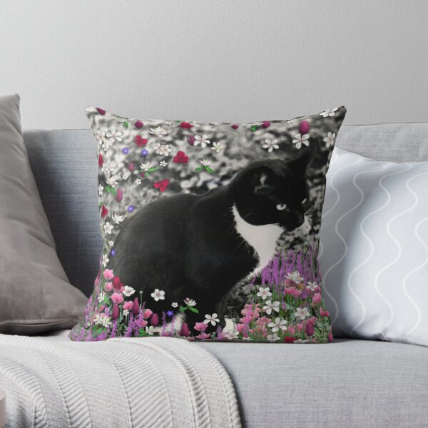 Freckles in Flowers II - Tuxedo Cat Throw Pillow