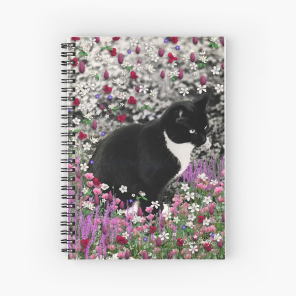 Freckles in Flowers II - Tuxedo Cat Spiral Notebook