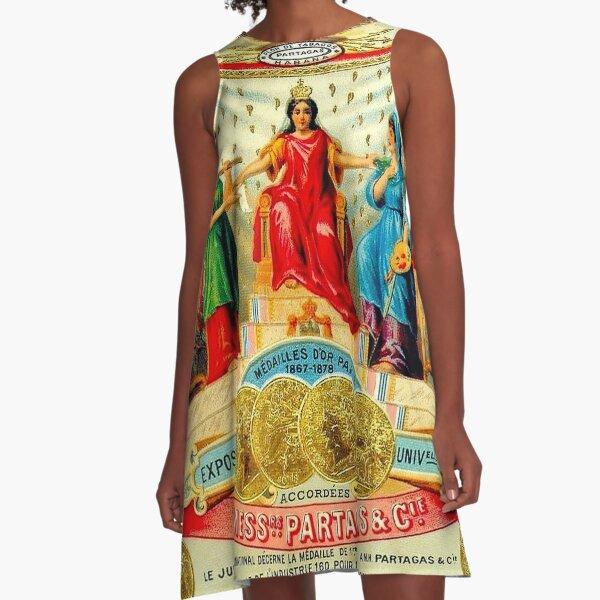 KUBANISCHE ZIGARRE; Vintage Advertising Awards drucken A-Linien Kleid