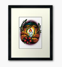 Neotraditional candle lantern Framed Print