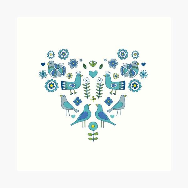 Scandi Folk Birds - blue & white - Scandinavian folk art pattern by Cecca Designs Art Print