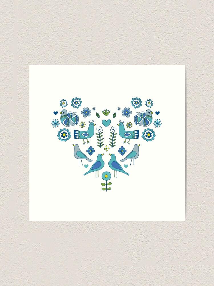 Alternate view of Scandi Folk Birds - blue & white - Scandinavian folk art pattern by Cecca Designs Art Print