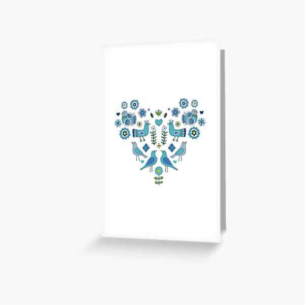 Scandi Folk Birds - blue & white - Scandinavian folk art pattern by Cecca Designs Greeting Card