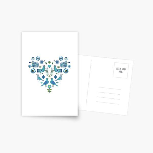 Scandi Folk Birds - blue & white - Scandinavian folk art pattern by Cecca Designs Postcard