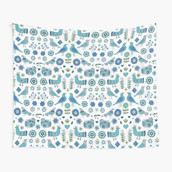 Scandi Folk Birds - blue & white - Scandinavian folk art pattern by Cecca Designs Tapestry