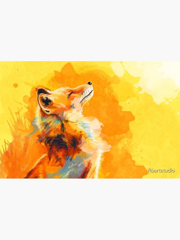 Blissful Light - Fox illustration, animal portrait, inspirational by floartstudio