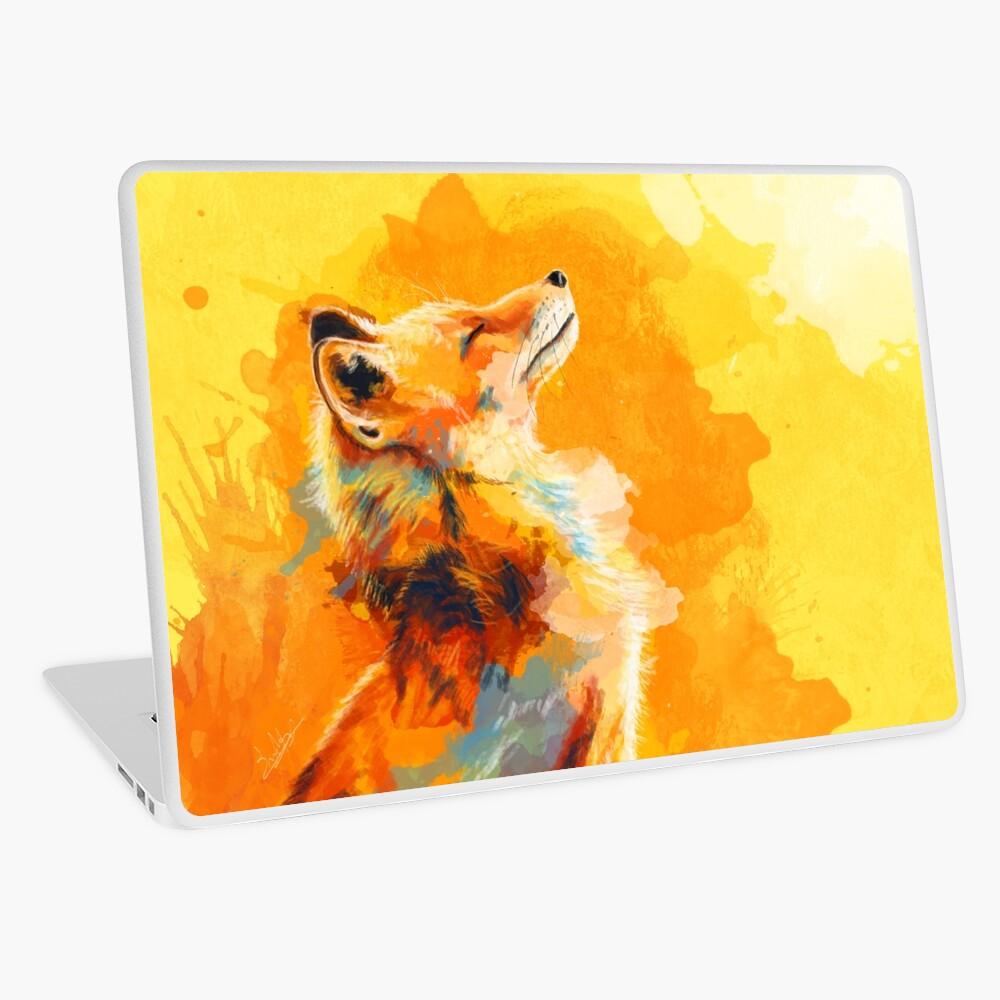 Blissful Light - Fox illustration, animal portrait, inspirational Laptop Skin