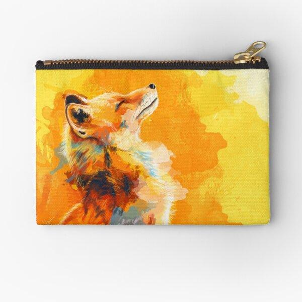 Blissful Light - Fox illustration, animal portrait, inspirational Zipper Pouch