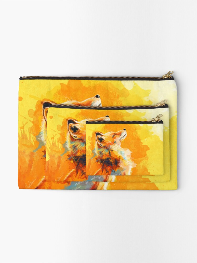 Alternate view of Blissful Light - Fox illustration, animal portrait, inspirational Zipper Pouch