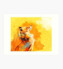 Glückseliges Licht - Fox-Illustration, Tierporträt, inspirierend Kunstdruck