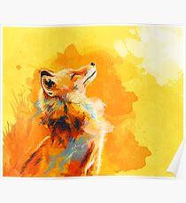 Glückseliges Licht - Fox-Illustration, Tierporträt, inspirierend Poster