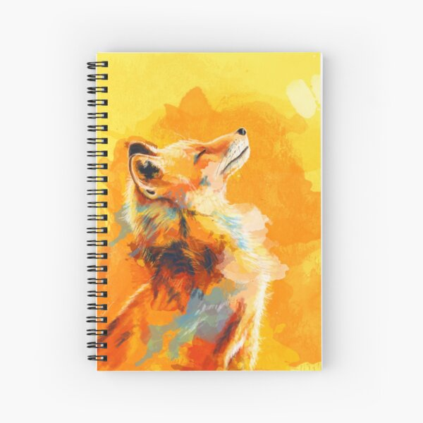 Blissful Light - Fox illustration, animal portrait, inspirational Spiral Notebook