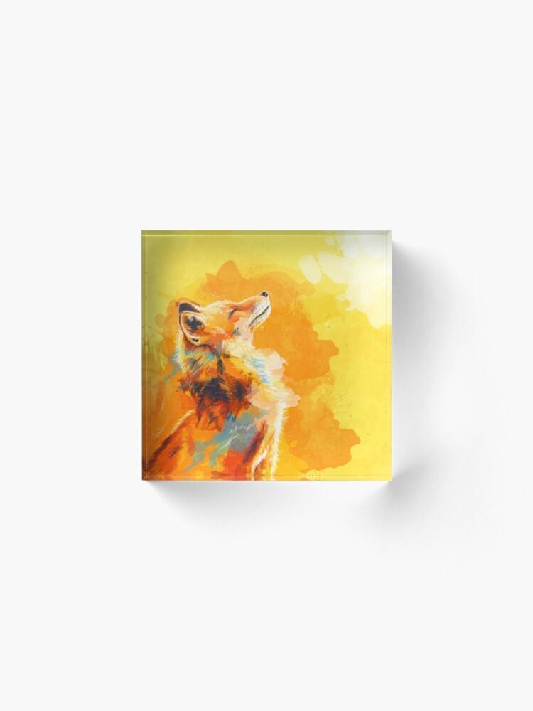 Alternate view of Blissful Light - Fox illustration, animal portrait, inspirational Acrylic Block