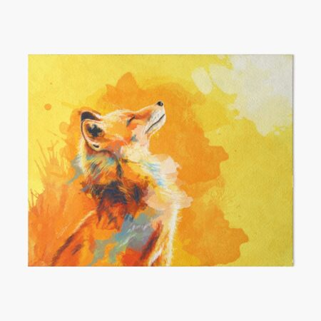 Blissful Light - Fox illustration, animal portrait, inspirational Art Board Print