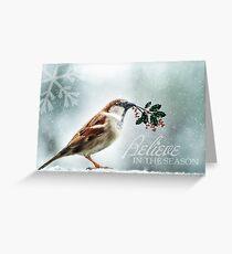 Christmas Sparrow Holly and Snow Wild Song Bird Greeting Card