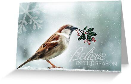 Christmas Sparrow Holly and Snow Wild Song Bird by Doreen Erhardt