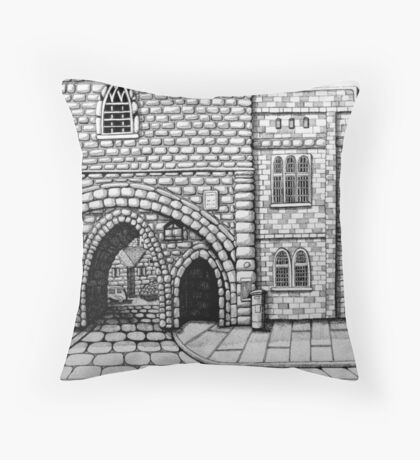 256 - ABBEY ARCH, NORTHGATE STREET, CHESTER DAVE EDWARDS - INK 2014 Throw Pillow