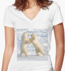 Dance of the white bears (I) Women's Fitted V-Neck T-Shirt