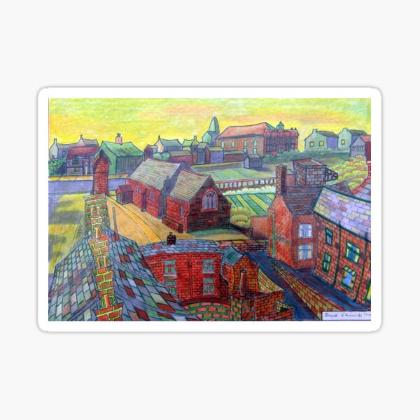 376 - RHOS SEEN FROM STIWT ROOF - DAVE EDWARDS - COLOURED PENCILS - 2013 Sticker