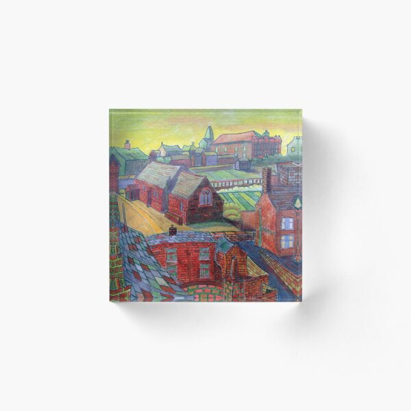 376 - RHOS SEEN FROM STIWT ROOF - DAVE EDWARDS - COLOURED PENCILS - 2013 Acrylic Block