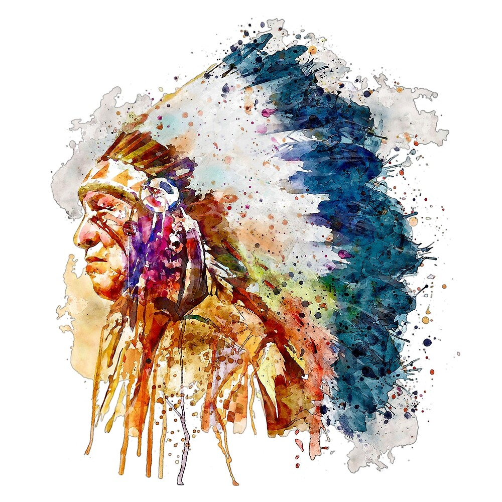 Native American Chief Side Face by Marian  Voicu