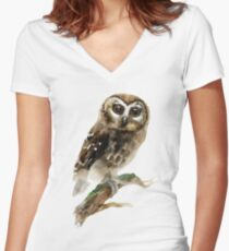 Watercolor Brown Owl Women's Fitted V-Neck T-Shirt