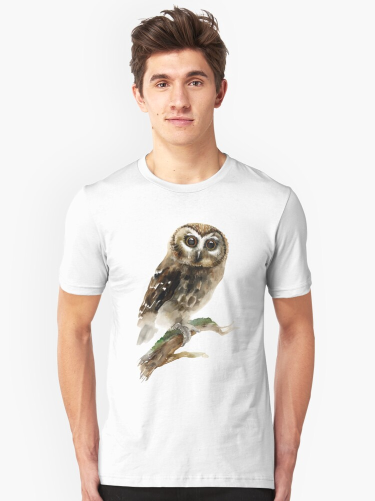 Watercolor Brown Owl Unisex T-Shirt Front